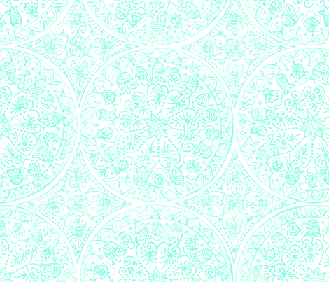 Cycling Mandalas (mint-white) fabric by helenpdesigns on Spoonflower - custom fabric