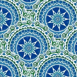 Bike Chain Gear Wheel Mandala, Blue