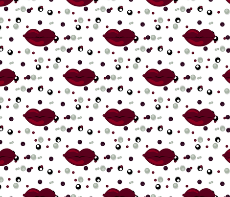 Lips love beads 100 fabric by danira on Spoonflower - custom fabric