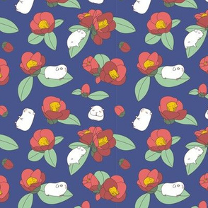 Guinea Pig and Japanese Camellia floral pattern