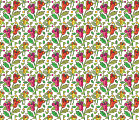 Deep Pink Whimsy Florals, Fresh Garden Flowers, Medium Scale Botanical, Bedding fabric by galleryinthegardendesigns on Spoonflower - custom fabric