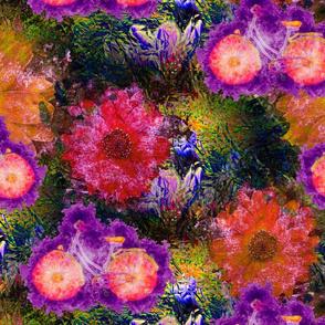 FLOWERS BICYCLE orange purple  raspberry pink
