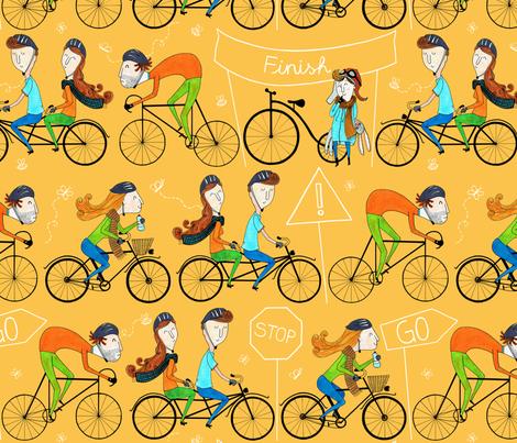 Pattern #81 - I love cycling!  fabric by irenesilvino on Spoonflower - custom fabric