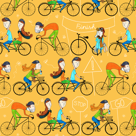 Pattern #81 - I love cycling!  fabric by irenesilvino on Spoonflower - custom fabric