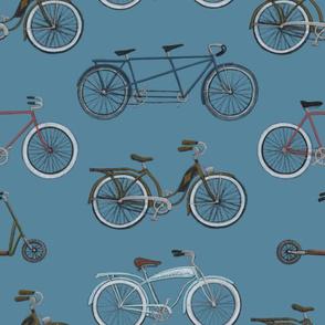 Vintage Bicycles on Blue