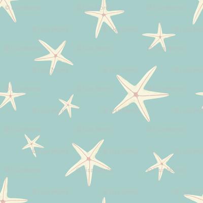 White Starfish on Sea Foam Green