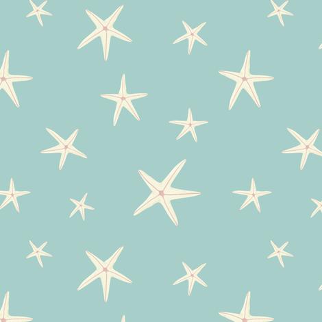 White Starfish on Sea Foam Green fabric by lisanorrisartworks on Spoonflower - custom fabric