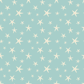 White Starfish on Sea Foam Green