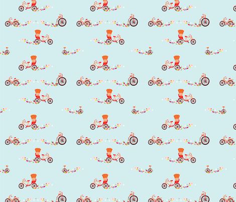 Bicycle Flowers fabric by gingerbelle on Spoonflower - custom fabric