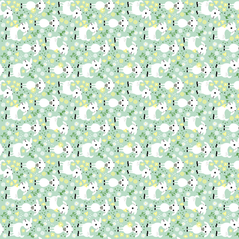 Baby goats on green - small and rotated fabric by heleenvanbuul on Spoonflower - custom fabric