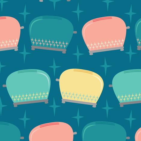 Vintage Toasters on Teal fabric by lisanorrisartworks on Spoonflower - custom fabric