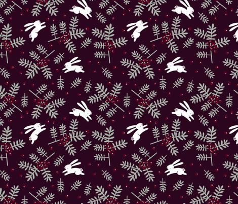 Bunnies and juniper berries  fabric by anda on Spoonflower - custom fabric