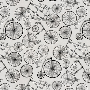 Monochrome Vintage Bicycles On Soft Grey - Big