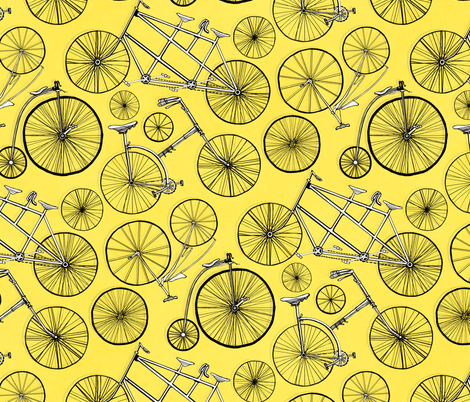 Vintage Bicycles On Bright Yellow - Big fabric by tigatiga on Spoonflower - custom fabric