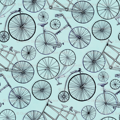 Monochrome Vintage Bicycles On Baby Blue - Big