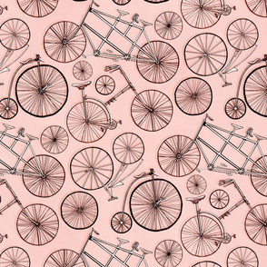 Monochrome Vintage Bicycles On Millenial Pink - Big