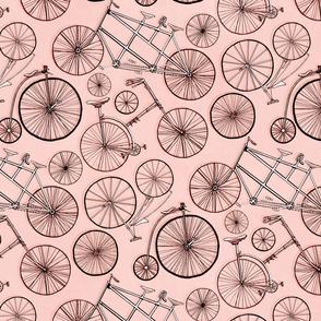 Monochrome Vintage Bicycles On Millenial Pink - Big
