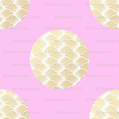 Mermaid circles pink and gold