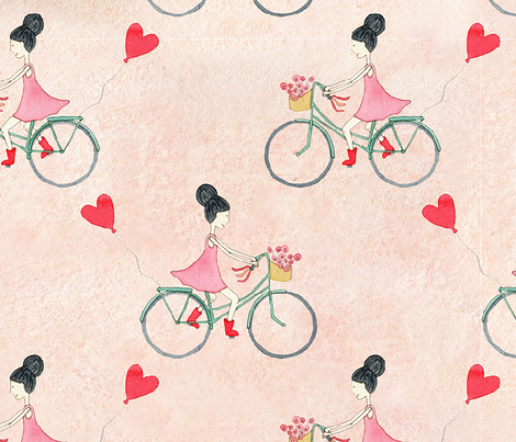Taking love on the ride - watercolor fabric by lahna_winter on Spoonflower - custom fabric