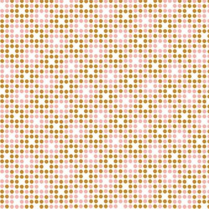 Dot Matrix* (Gold Seal & Mona) || polka dots dot bitmap pixel pixelated houndstooth check plaid 70s retro vintage mustard gold pink coral