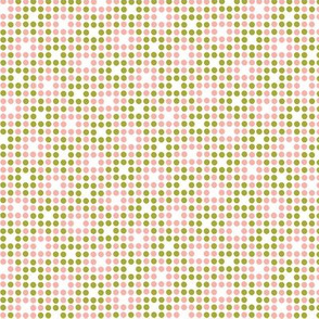 Dot Matrix* (Split Pea Soup & Mona) || polka dots dot bitmap pixel pixelated houndstooth check plaid 70s retro vintage avocado olive green coral pink