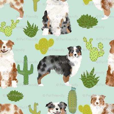 australian shepherds (smaller scale) dog cute cactus fabric mint dogs blue merle red merle dog fabric cute aussie dog gift fabrics
