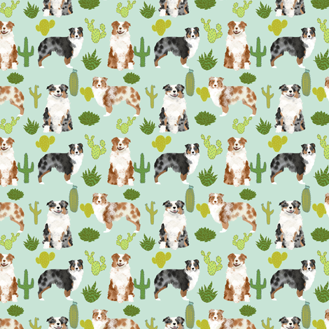 australian shepherds (smaller scale) dog cute cactus fabric mint dogs blue merle red merle dog fabric cute aussie dog gift fabrics fabric by petfriendly on Spoonflower - custom fabric