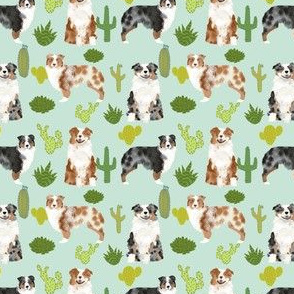 australian shepherds (smaller scale) dog cute cactus fabric mint dogs blue merle red merle dog fabric cute aussie dog gift fabrics