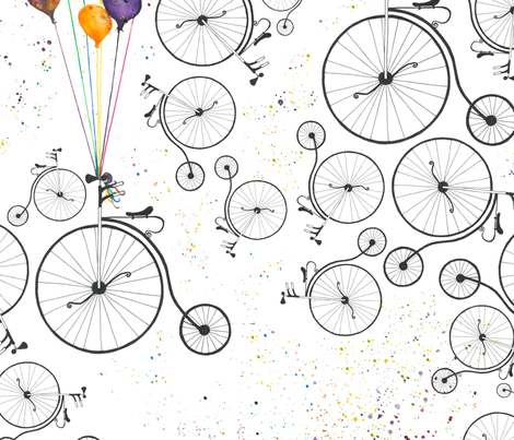 Bike and baloons fabric by dunia on Spoonflower - custom fabric