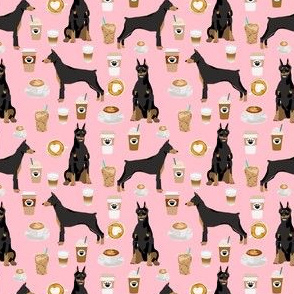 doberman dog fabric (smaller scale) doberman pinscher blossom pink coffee fabric
