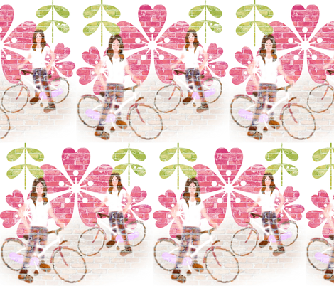 Girl cycling fabric by ka_ra on Spoonflower - custom fabric