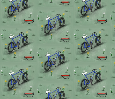 Bicycle & Dandelion  fabric by featherfox on Spoonflower - custom fabric