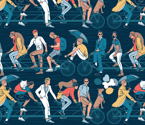 Brotherly riding the world together fabric by selmacardoso on Spoonflower - custom fabric
