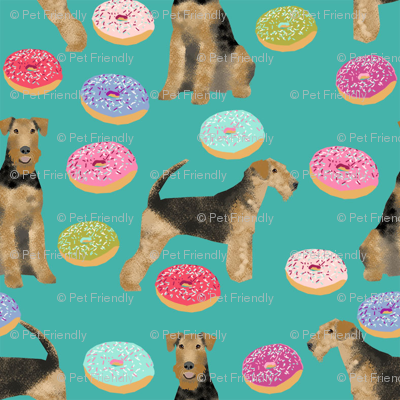airedale terrier donuts dog breed fabric teal