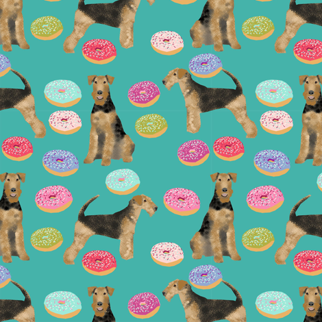 airedale terrier donuts dog breed fabric teal fabric by petfriendly on Spoonflower - custom fabric