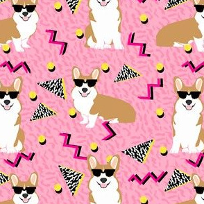 corgi rad 80s retro dog fabric pink