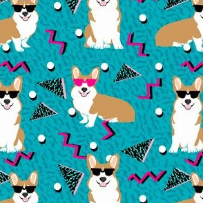 corgi rad 80s retro dog fabric blue
