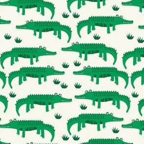 happy alligator kids nursery boys fabric white bright green