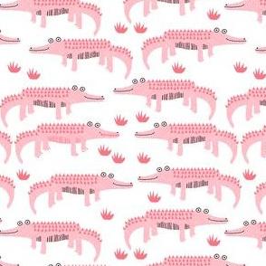 happy alligator kids nursery boys fabric white pink