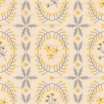 Meadowland medallions ~ evening primrose on eggshell