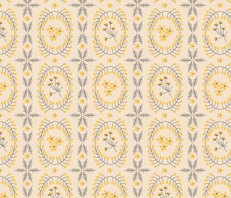 Meadowland medallions ~ evening primrose on eggshell fabric by retrorudolphs on Spoonflower - custom fabric