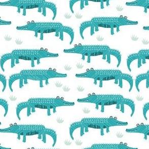 happy alligator kids nursery boys fabric white blue