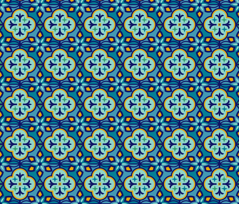 Marrakesh Inspired Tiles in Blue Hues fabric by latheandquill on Spoonflower - custom fabric