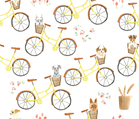 Puppies and bikes fabric by ldpapers on Spoonflower - custom fabric
