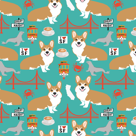 corgi san francisco dog breed travel fabric turquoise fabric by petfriendly on Spoonflower - custom fabric