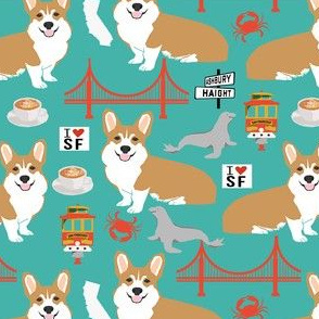 corgi san francisco dog breed travel fabric turquoise