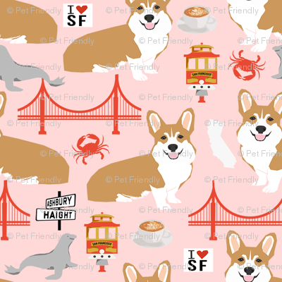 corgi san francisco dog breed travel fabric pink