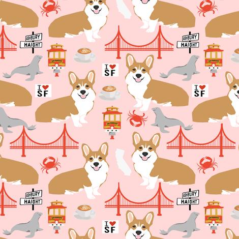 corgi san francisco dog breed travel fabric pink fabric by petfriendly on Spoonflower - custom fabric