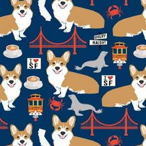 corgi san francisco dog breed travel fabric navy
