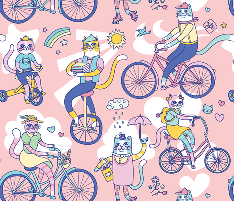 Cycle Cats! fabric by pinkowlet on Spoonflower - custom fabric